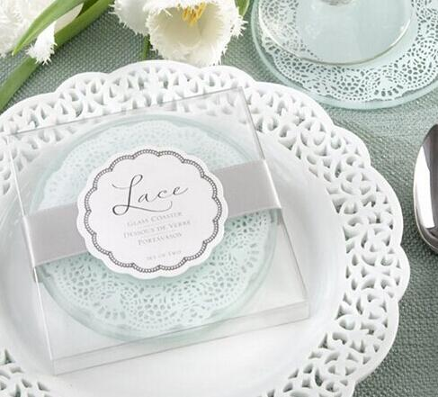 50set Glass Coaster Wedding Favors and gifts Glass Lace Coasters Wedding supplies Party Guest gift box Presents Wedding Favours