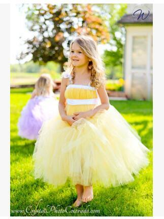 new yellow tutu tulle baby bridesmaid flower girl wedding dress fluffy ball  gown USA birthday evening 80c33043c2d0