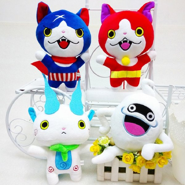 Wholesale- 4pcs/Set 20CM Yo-Kai Kawaii Yokai Watch Doll Figure Jibanyan Komasan and Whisper Youkai Plush Stuffed Toy For Kids Gift