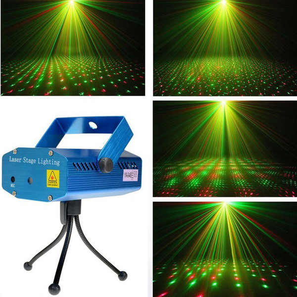 1PC Portable Laser Stage Lights (Red + Green Color) All Sky Star Lighting Mini DJ Laser For Christmas Party Home Wedding Club Projector