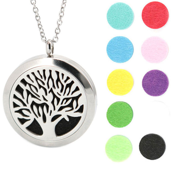 top popular Tree of Life Pendant 30mm Aromatherapy Essential Oil Stainless Steel Necklace Perfume Diffuser Oils Locket Send chain and Felt Pads as Gift 2019