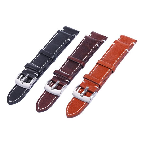 18 20 22mm Men Stainless Steel Buckle Watch Strap Genuine Leather Band Length Long 12.5cm 7993