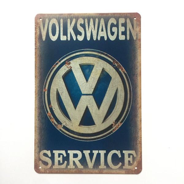 Volkswagen Service Retro Vintage cartel de chapa metálica para hombre cueva garaje shabby chic etiqueta de la pared Cafe Bar decoración para el hogar