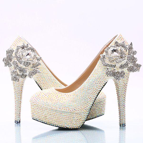 White AB Crystal Wedding Shoes Sparkling Rhinestone Bridal Dress Shoes Plus Size Platform High Heel Shoes Cinderella Prom Pumps