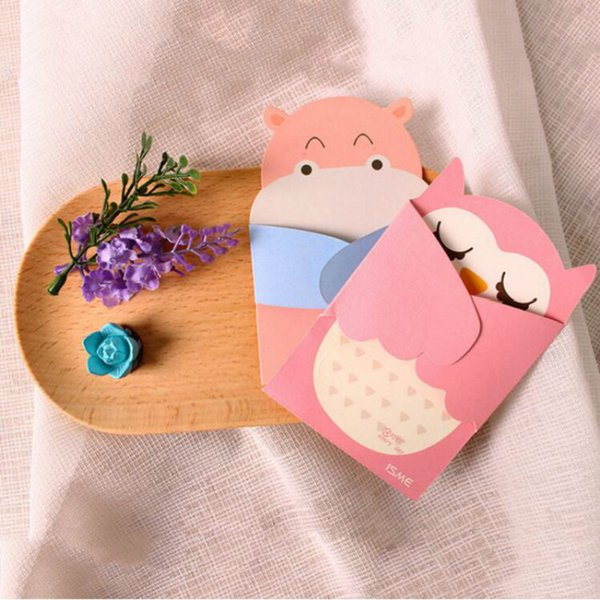 Embrace of love Cartoon animal small card with envelope kawaii message birthday greeting cards holiday Universal kids gift