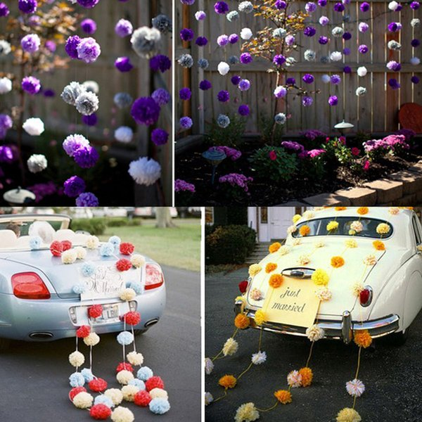 Wholesale-Wedding decoration (5pcs) 15cm 6 inch Tissue paper pom poms balls birthday kids party supplies baby shower christmas deco
