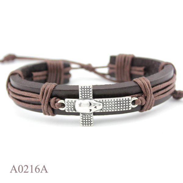 ANTIQUE SILVER SIDEWAYS CROSS SKULL CHARM Adjustable Leather Cuff Bracelets For Women Men PUNK Casual Friendship GIFT Jewelry