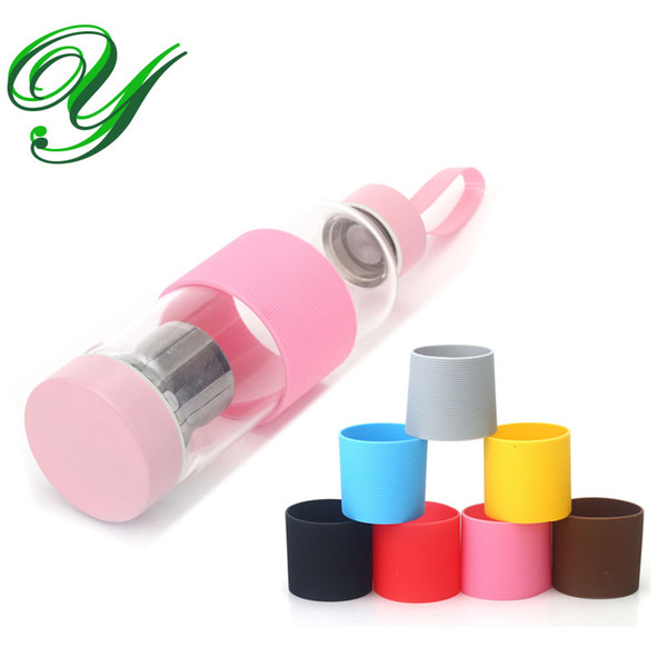 4pc Plastic water bottle cover silicone sleeves for thermos cup nonslip travel glass sports bottle holder vacuum flask