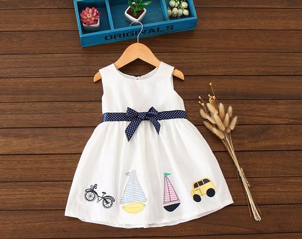 2018 100 Cotton Dress Baby Girl Sailing Bike Car Clothes Dresses