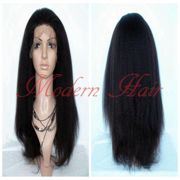 Heavy Density Long Italian Yaki Kinky Straight Synthetic Lace Front / Full Lace Wig Heat Resistant Fiber For Fashion Black Women Cheap Wigs