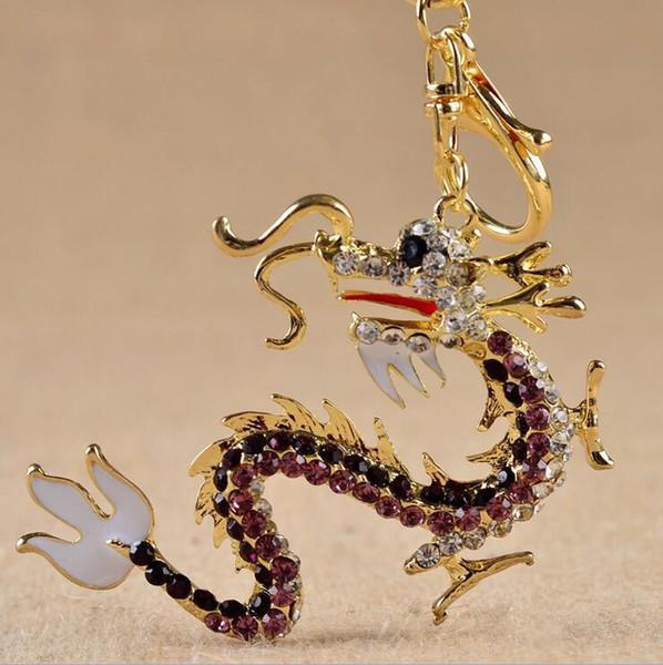 Nova Moda Criativa Bonito Dragão Liga de Zinco Chaveiros Saco De Cristal Pingente Anel Chave Chaveiro Presente de Natal Jóias