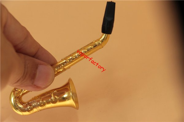 HOT Small Saxophone Portable Smoke Smoking Pipes Metal pipe cigarette holder herb Tobacco Pipes mini tobacco spice mill pipes Hookah screen