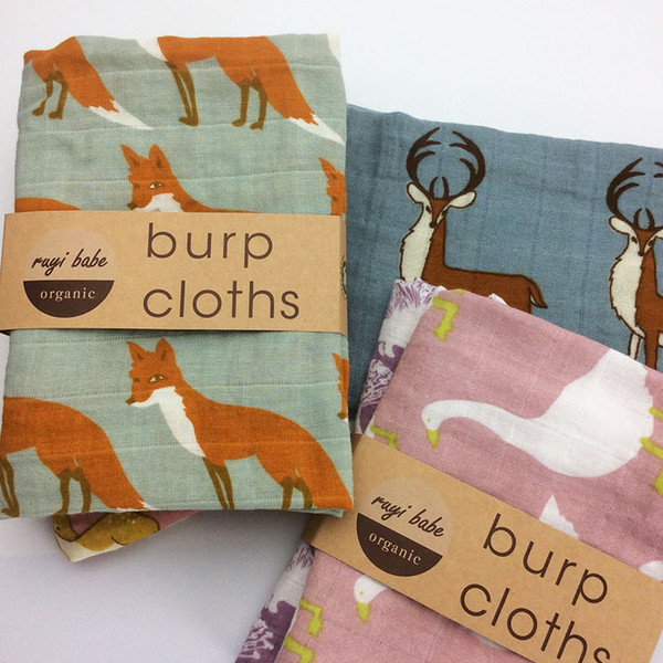 Wholesale- Baby Burp Cloths 2pcs/lot Organic cotton gauze Muslin activity baby bib bandanas Baby Bibs soft breathable Newborns Towel scarf
