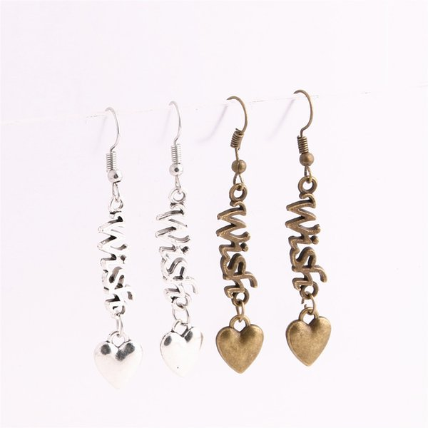 12pcs/lot Metal Alloy Zinc Love Pendant Letter Wish Connector Heart Charm Drop Earing Diy Jewelry Making C0672