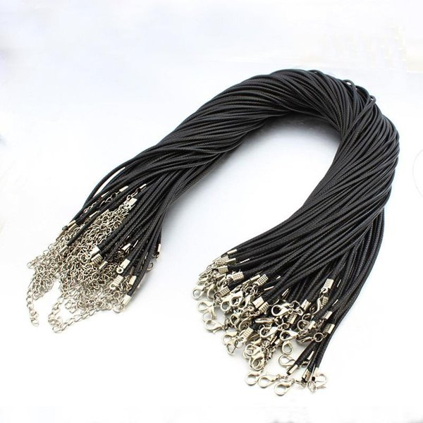 Black Wax Leather Snake Chain Necklaces Beads Cord String Rope Wire 45cm Extender with Lobster Clasp Jewelry DIY Line Chains 1.5mm/2mm