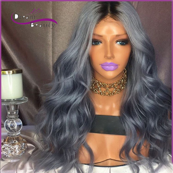 Stock new Heat resistant hair wig black to dark grey color wavy style wig ombre glueless synthetic lace front wig for black women