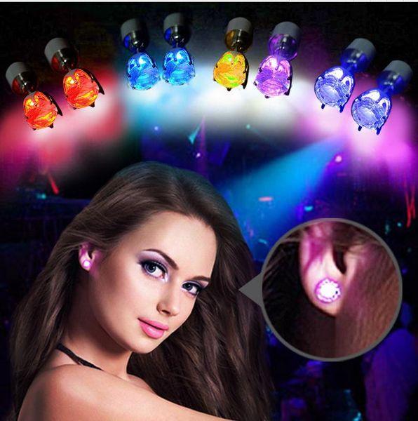 best selling New Fashion Updated version Multicolor LED Light Zircon Women Stud Earrings Alloy Jewelry Earing a814