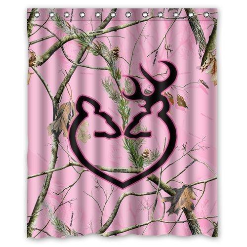 Tenda di doccia su ordinazione impermeabile su misura del bagno del tessuto del poliestere di progettazione di Camo di rosa personalizzata 60 pollici x 72 pollici