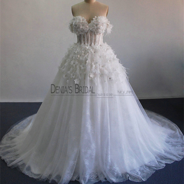 2017 vestido de baile vestidos de casamento com penas de avestruz off ombro frisado 3d handmand flores sheer desossada corpete tule vestidos de noiva