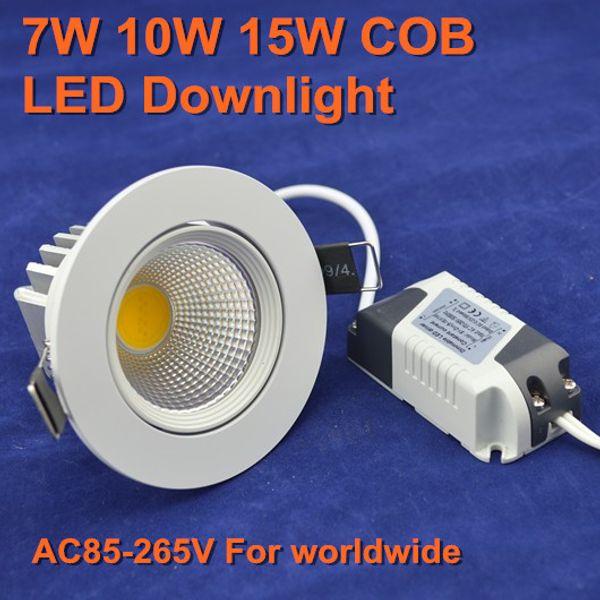 Venta al por mayor- 5 piezas / lote de alta calidad 7W 10W 15W cob led downlight 30 grados cuerpo giratorio LED Spot light led lámpara de techo