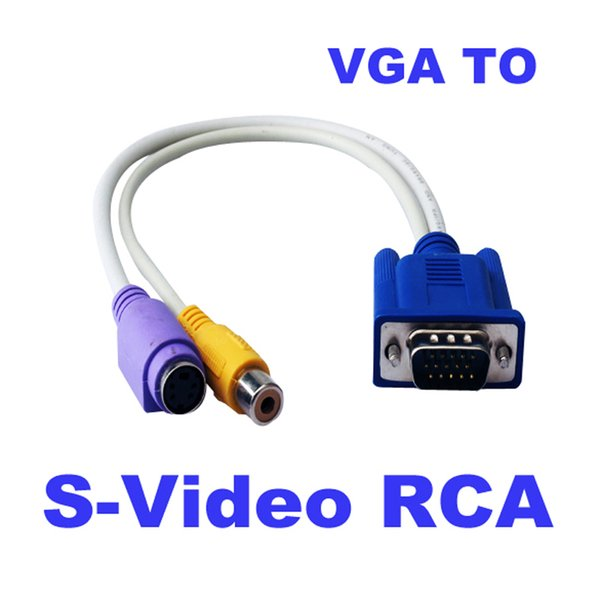 Freeshipping VGA to TV Converter Cable 15 Pin Sub-D VGA SVGA to RCA S-Video S Video Cable Adapter Converter for TV VGA to Video TV S-Video