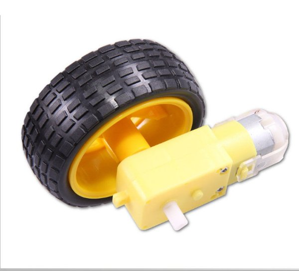 Wholesale-Hot Sale 1X for Arduino Smart Car Robot Plastic Tire Wheel with DC 3-6V Gear Motor