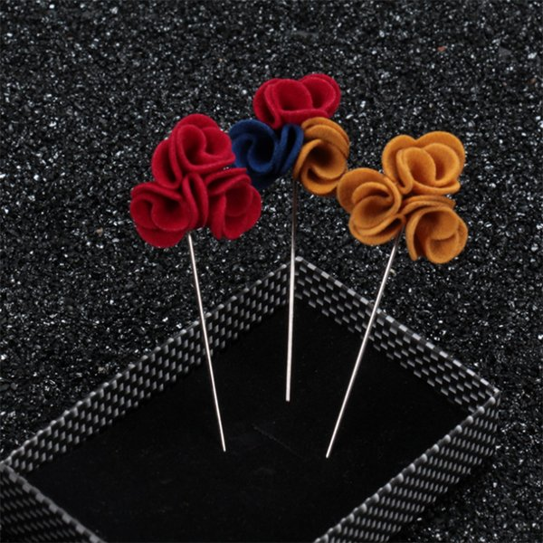 New Fashion Men Flower Lapel pin suit Boutonniere fabric yarn pins colors button rose Stick Brooches 12 color wedding Groomsman Broches gift
