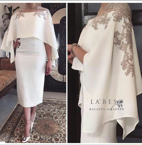 Modest 2017 Hi Lo White Chiffon Formal Evening Dresses For Arabic Women With Wrap Lace Appliques Ankle Length Plus Size Prom Occasion Gowns