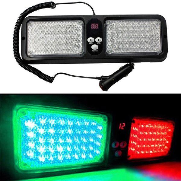 top popular Car 12 Modes 86 LED Emergency Warning Sun Visor Strobe Lights Green Red 2021