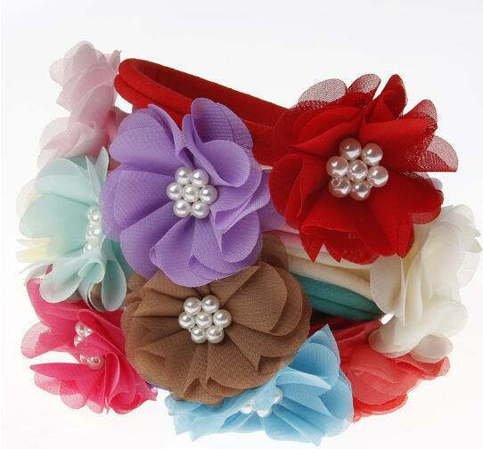 New Fashion Hot children kids Baby girls pearl diamond chiffon flower Headband Headwear Hair Band Head Piece Accessories YH670