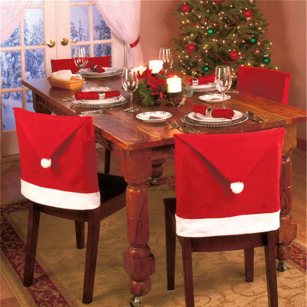 Santa Claus Cap Chair Cover Christmas Dinner Table Party Red Hat Chair Back Covers Xmas Decoration