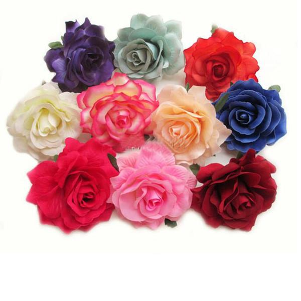 New Big Blooming Artificial Rose Blossom 9cm Cabeças de flor de seda para decoração Mariage DHL Frete grátis