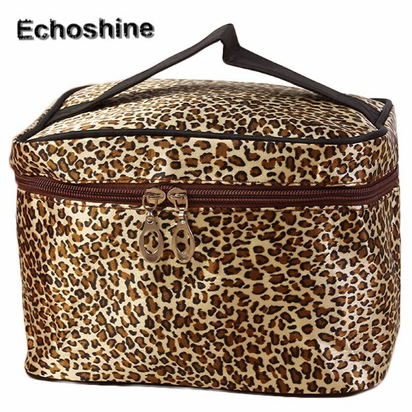 Wholesale- 2016 fashion classic Leopard Makeup Bag Women's Zippers Storage Bags Travel Portable Waterproof Cosmetic Bag gift free shipping