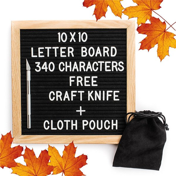 best selling 10x10 Inches Black Felt Letter Board Changeable Letter Boards 340 White Plastic Letters Free Craft Knife Oak Wood Frame Easels Toys 938