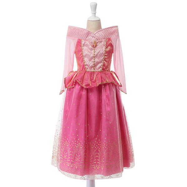 La bella addormentata della principessa costume bambina primavera estate rosa vestito dalla ragazza Principessa Aurora Abiti per ragazze partito Costume trasporto veloce gratuito