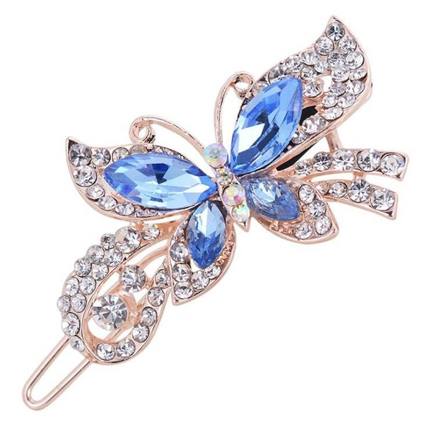 Fashion Women Crystal Diamond Butterfly Hairpins Hair Clip Barrette Hair Band Accessories 4 Colors free shipping