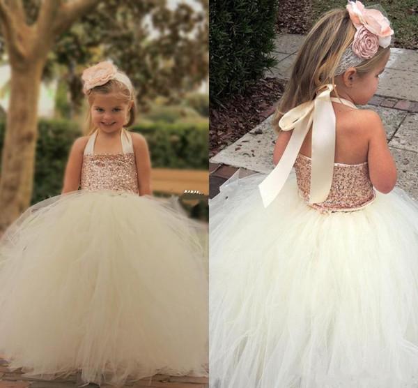 2017 New Cheap Cute Ivory Halter Sleeveless Flower Girl Dresses Sequin Tutu Floor Length Ball Gown Little Girls Pageant Dresses Custom Made
