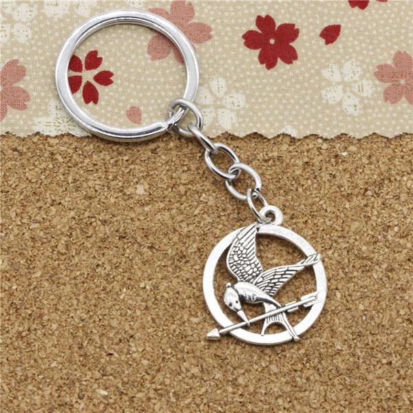 15pcs Fashion Diameter 30mm Metal Key Ring Key Chain Jewelry Antique Silver Plated mockingbird mock bird 25mm Pendant