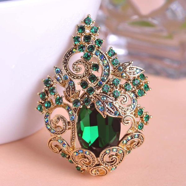 Wholesale- Blucome Retro Green Large Peacoke Crystal Brooches Vintage Jewelry Wedding Brooch Bouquet Corsages Antique Gold Flower Hijab Pin