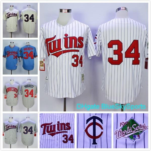 f73041b60a1 Throwback Kirby Puckett Jersey Minnesota Twins Retro Vintage Baseball  Jerseys White Navy Blue Already have the APP MLB Minnesota Twins 34 ...