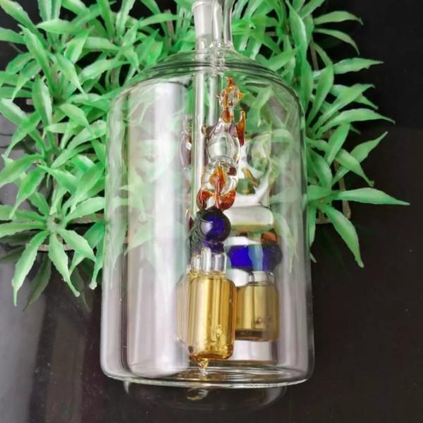 Doppelpferde vier Krallen Wasserpfeife Glasbongs Zubehör, Glas Smoking Pipes bunte Mini-Multi-Farben Hand Pipes beste Löffel Glaspfeife