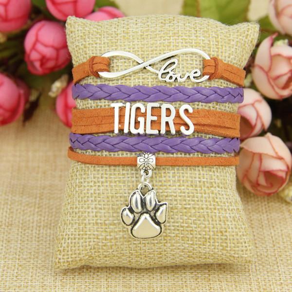 NCAA CLEMSON TIGERS Crystal Team Charm Bracelet w bonus charms FREE SHIPPING!!!