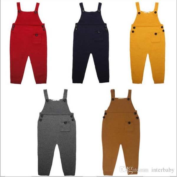 Kids Ins Overalls Knit Suspenders Wool Pants Fashion Ins Suspender Trousers Casual Long Pants Ins Straps Jumpsuit Playsuit Rompers B2363