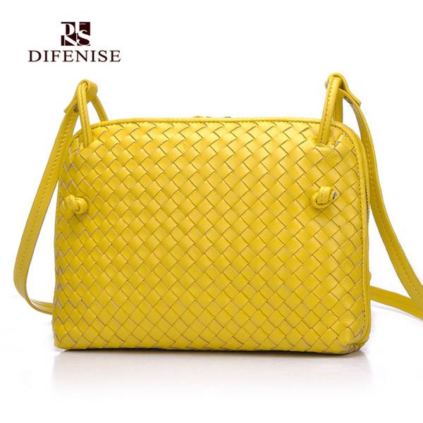 Wholesale- Difenise Weaving Style the first layer of Sheepskin Handmade Women Handbags Zipper Knitting Lady Handbags High quality