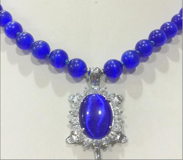 New 8mm Blue Sri Lanka Moonstone Gems Tortoise Pendant Necklace 18