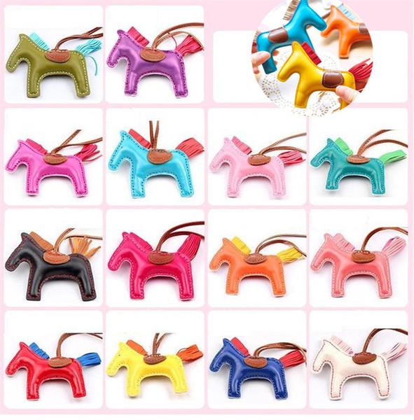 Nuevo 17 colores de moda lindo bolso de las mujeres colgante de gama alta hecho a mano bolso de la PU llaveros borla rodeo bolsa de caballo bolso del encanto accesorios 2332