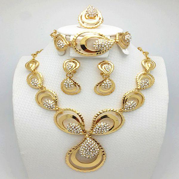 2017 new fashion elegant 18k gold pendant diamond crystal 2017 new fashion elegant 18k gold pendant diamond crystal necklace earrings set design austria girl aloadofball Image collections