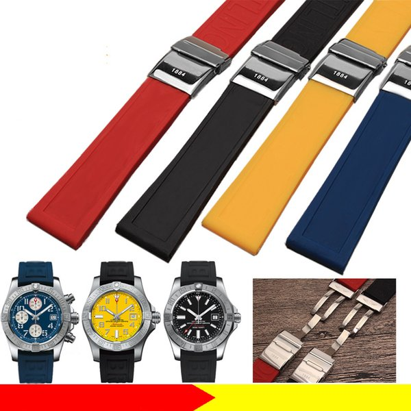 top popular 22mm 24mm Waterproof Diving Silicone Rubber Watch Straps Watchband Fold Buckle for Breitling Watch AVENGER Black Red Yellow Bracelets+ Tools 2019