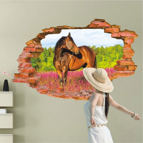 Wholesale Modern 3D Wallpaper Horse Flower Forest Luxury Creative Bedroom Living Room Wall Stickers free shipping