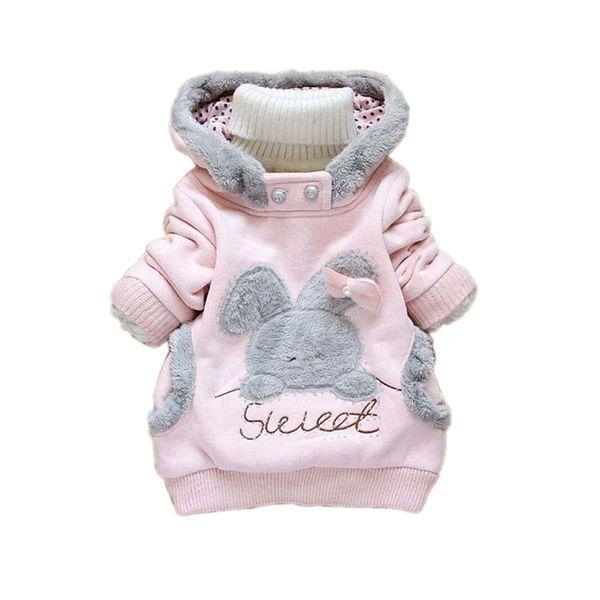 cute causal kids warm coat cartoon sweet rabbit hooded sweatshirt coat for 1-6yrs children boys girls thick outerwear clothes